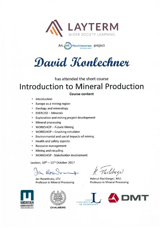 Participation LAYTERM course: Introduction to Mineral Production